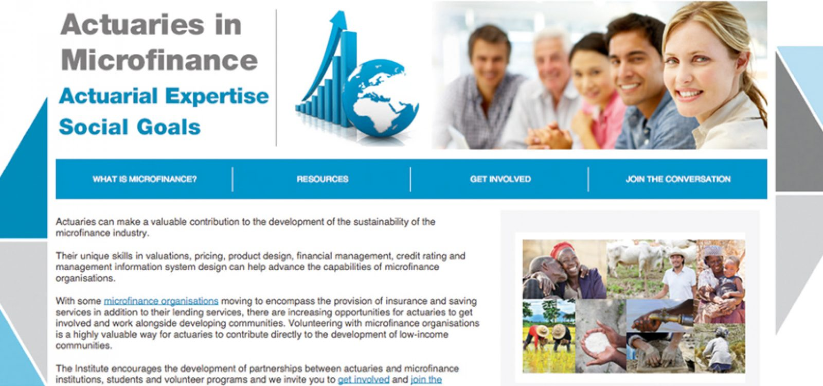 Actuarial Expertise, Social Goals – The Launch of the Institute Microfinance Website