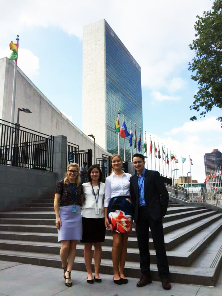 The Global Voices UN ECOSOC Australian Youth Delegation outside UN Headquarters in New York, July 2015.