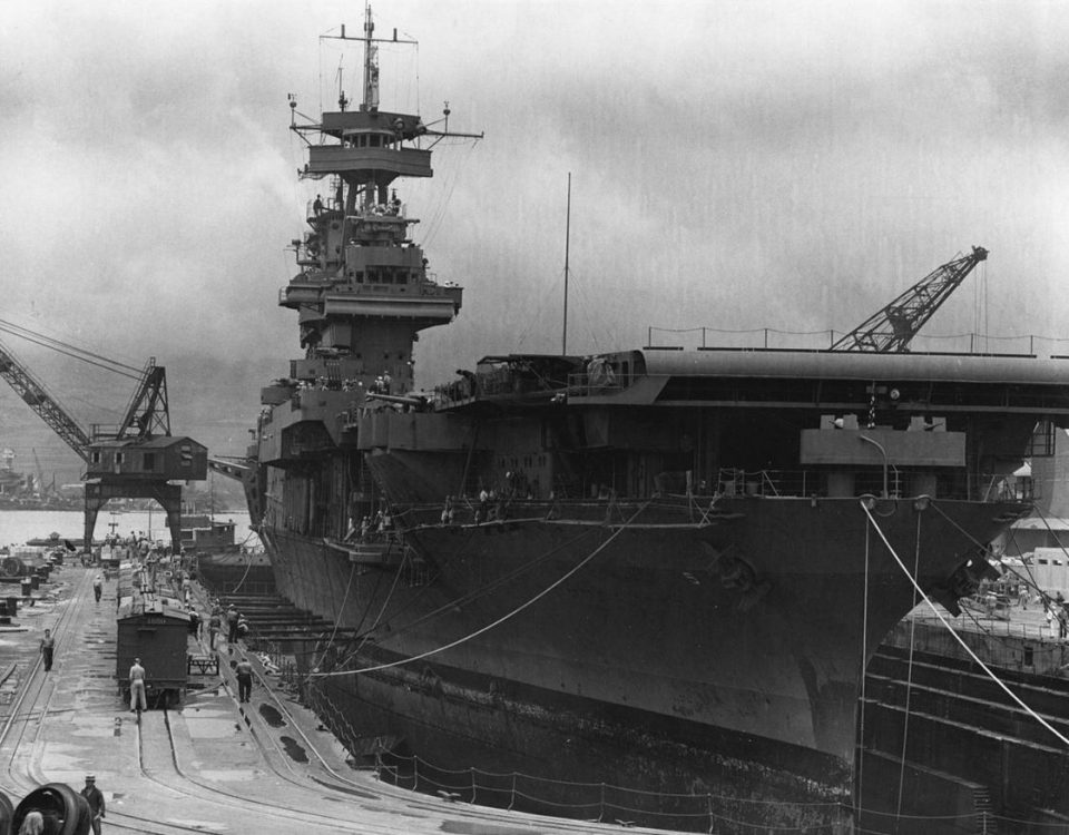 USS Yorktown at Pearl Harbour days before the battle