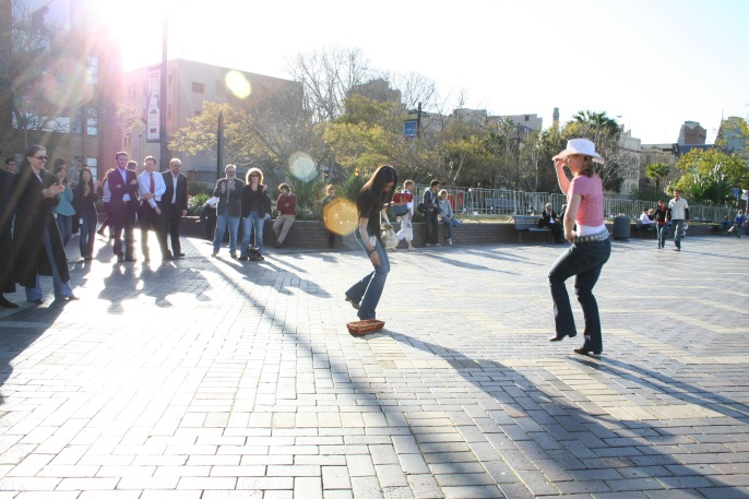 Busking at Circular Quay has been tried in many forms – dance, music, oratory..