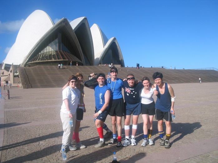 Aerobics Oz-Style on the Opera House steps – and yes, security did appear and move them on.