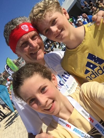 Don with his kids after the City to Surf