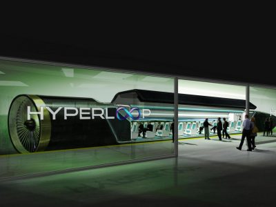 A concept design of a Hyperloop station by Hyperloop Technologies (now Hyperloop One)