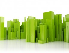 Abstract city green 3d cubes on white background
